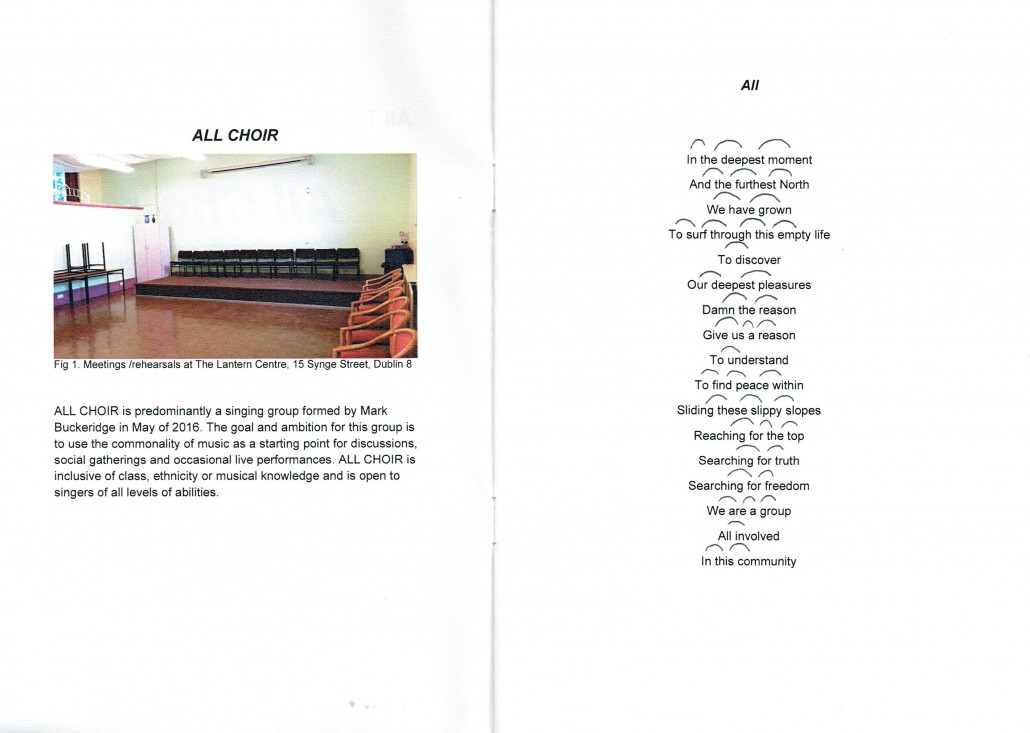 All Choir, Lyrics pamphlet